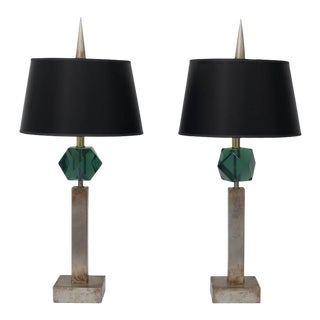 Pair of Table Lamps in Antique Silver Coloration and Green Faux Gemstone