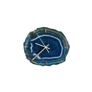 Modern Teal Agate Wall Clock