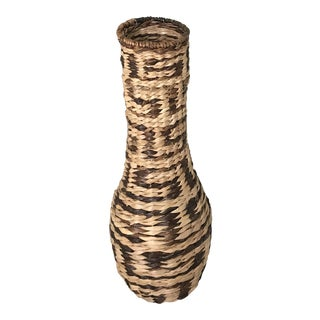 Large Woven Vase with Woven Pattern