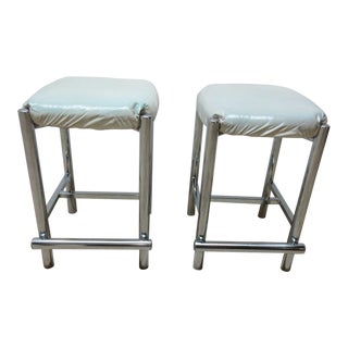 Mid-Century Cal Style Chrome Counter Bar Stools - A Pair