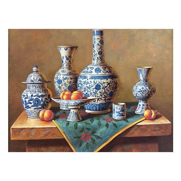 Blue & White Porcelain Still Life Painting - Image 2 of 5