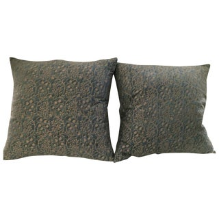 "Fortuny ""Granada"" Pillows, Blue & Silvery Gold - 2"