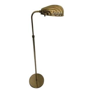Adjustable Brass Clamshell Pharmacy Floor Lamp
