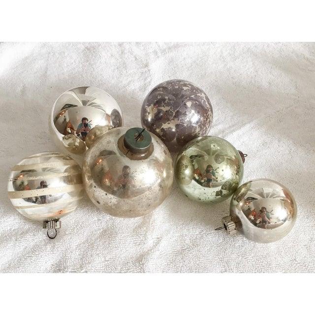 Vintage Mercury Glass Christmas Ornaments - Set of 6 - Image 2 of 5