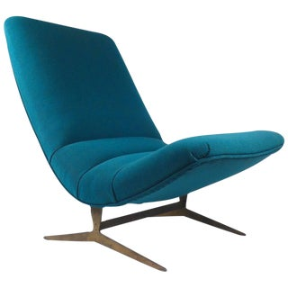 1960s Italian Scoop Lounge Chair with Patinated Bronze Base