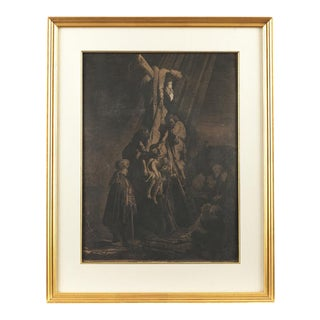 """Rembrandt Van Rijn -- """"The Descent From the Cross"""" Second Plate, 1633 Engraving"""