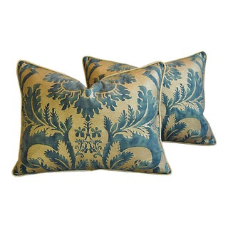 """24"""" X 18"""" Custom Tailored Italian Fortuny Glicine Feather/Down Pillows - Pair"""