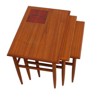 Danish Modern Teak & Tiled Nesting Tables - Set of 3