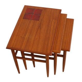 Danish Modern Teak & Tiled Nesting Tables - Set of 3