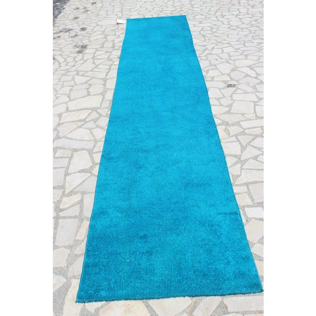 Oushak Over-Dyed Turquoise Runner - 2′10 X 14' - Image 4 of 8