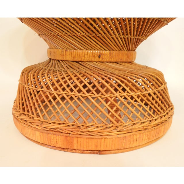 1970s French Woven Reed Rattan Coffee Table - Image 5 of 9