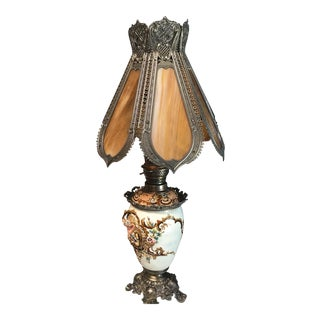 Antique Bronze and Glass Ornate Tiffany Style Lamp