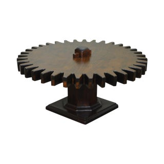Ethan Allen Old Tavern Collection Pine Cog Wheel Gear Spinning Coffee Table