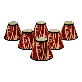 Red & Tan Bamboo Design Chandelier Shades - Set of 6