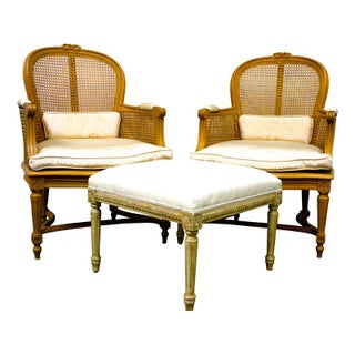 Louis XVI Style Armchairs and Ottoman