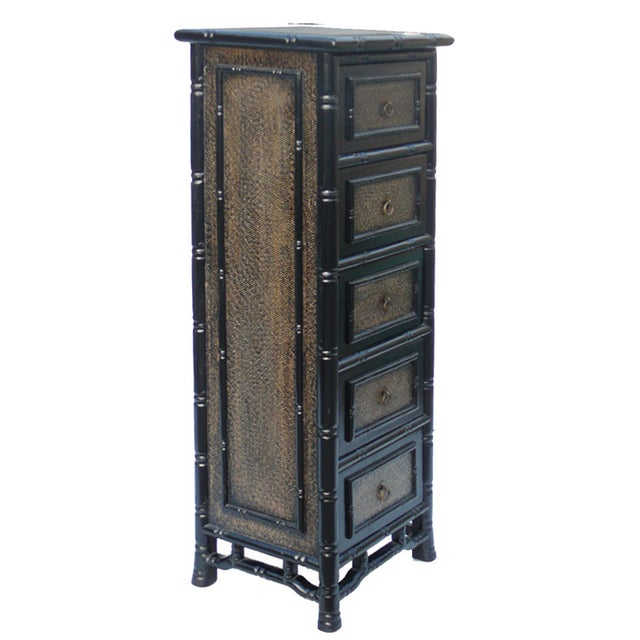 Black Rattan Bamboo 5 Drawers Chests - A Pair - Image 3 of 6
