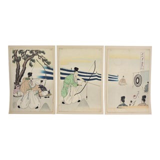 Meiji Era - the Archers, Woodblock by Hashimoto Chikanobu (1838-1912)