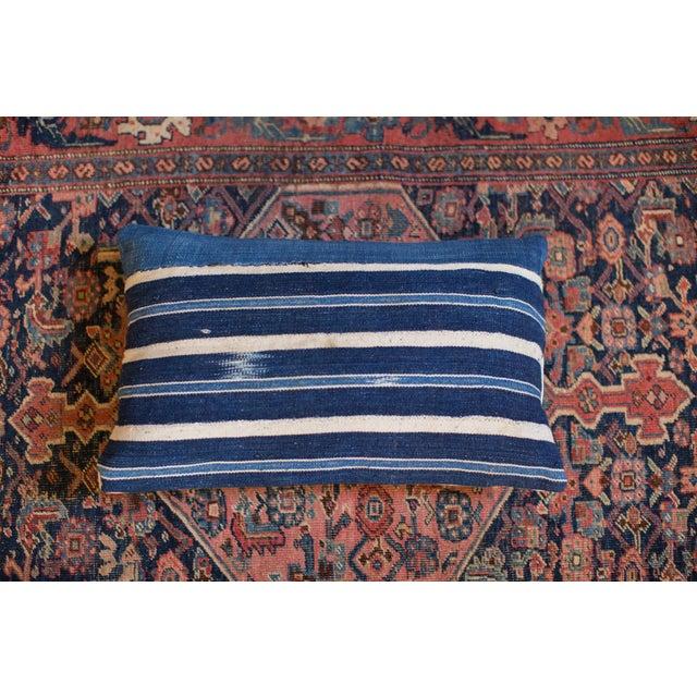Handwoven Striped Indigo Lumbar Pillow - Image 2 of 8