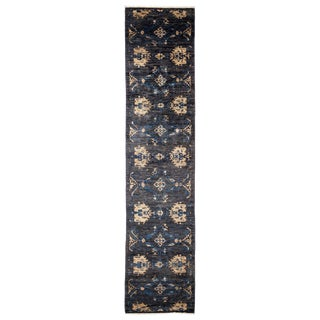 "Eclectic, Hand Knotted Black Floral Wool Runner Rug - 2' 9"" X 12' 0"""