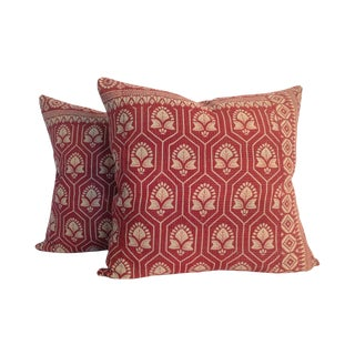 Vintage Indian Red Kantha Quilt Pillows - A Pair