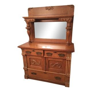 Antique Mirrored Wooden Hutch