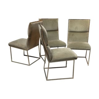 Velvet Baughman Style Dining Chairs - Set of 4