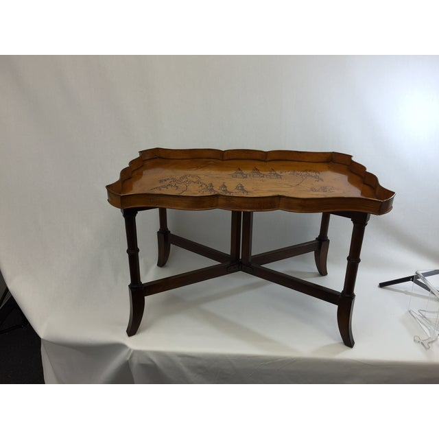 Faux Bamboo & Painted Metal Coffee Table - Image 2 of 6