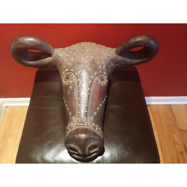 African Buffalo Head Artwork Mask - Image 2 of 4