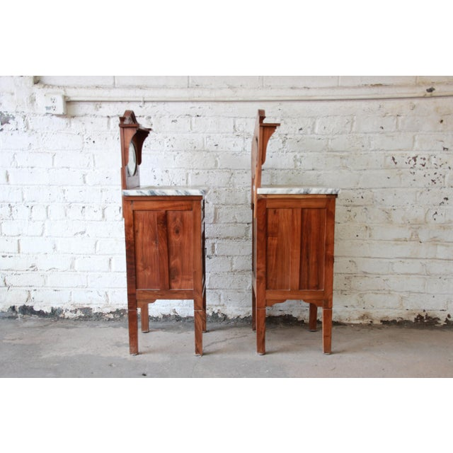 Victorian Walnut & Marble Nightstands - a Pair - Image 8 of 11