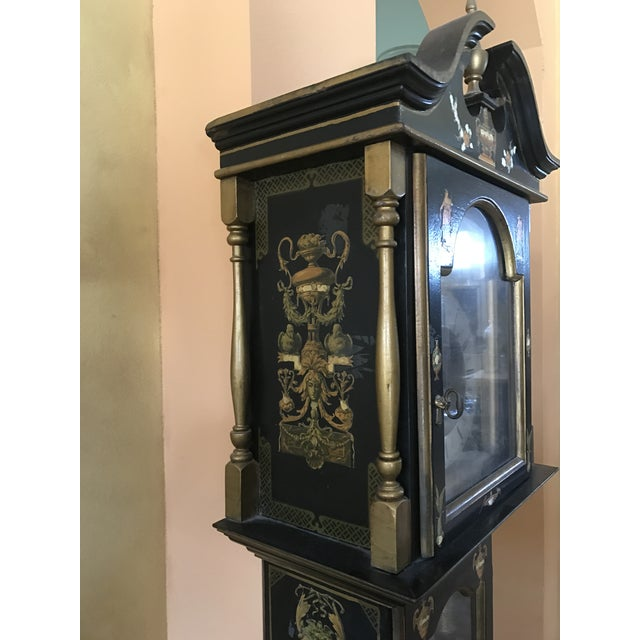 Asian Black Grandfather Clock Hand Painted With Pearl Inlay - Image 3 of 11