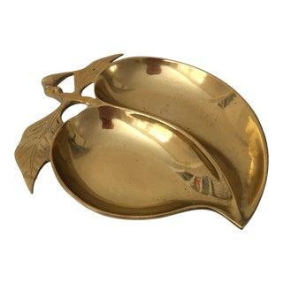 Vintage Brass Peach Dish