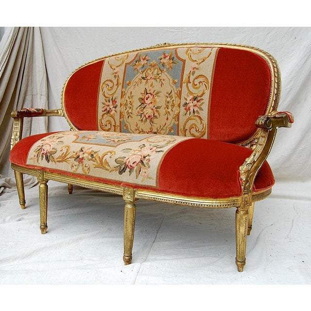 louis xvi style giltwood canape chairish. Black Bedroom Furniture Sets. Home Design Ideas