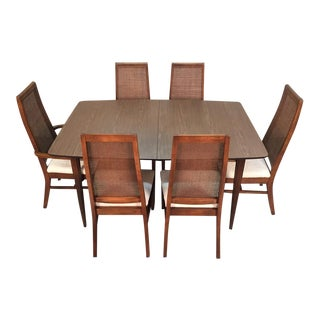 Mid-Century Modern Dining Set With 6-Chairs and 2-Extensions