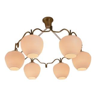 Bent Karlby brass six shade chandelier for Lyfa, Denmark, 1950s