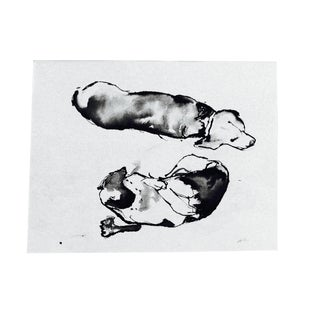 "Martha Holden ""Beagles"" Ink Drawing"