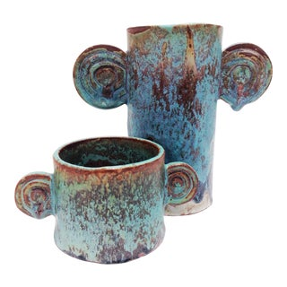 Organic Sculptural Turquoise Vases - A Pair