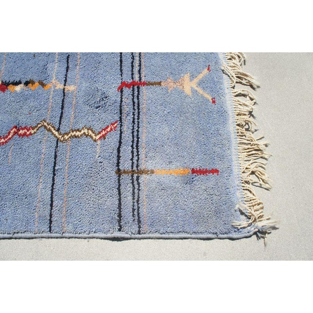 """Moroccan Light Blue Abstract Rug- 6'5"""" x 9' - Image 7 of 7"""
