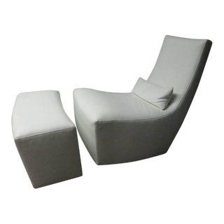 Leather Lounge Chair and Ottoman by Ligne Roset