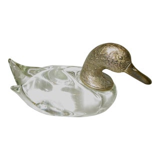 Mid-Century Brass & Crystal Duck