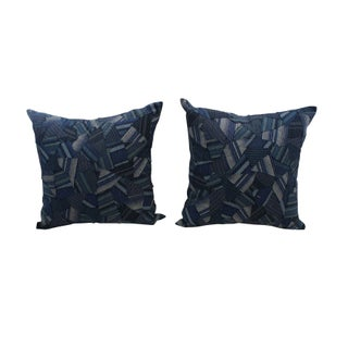 Blue Striped Patchwork Pillows