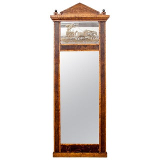 19th Century Neoclassical Pedimented Pier Mirror