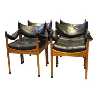 Kristian Vedel Leather Danish Chairs - Set of 4