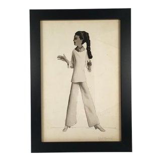"""Woman in Tunic Pantsuit"" Black & White Watercolor"