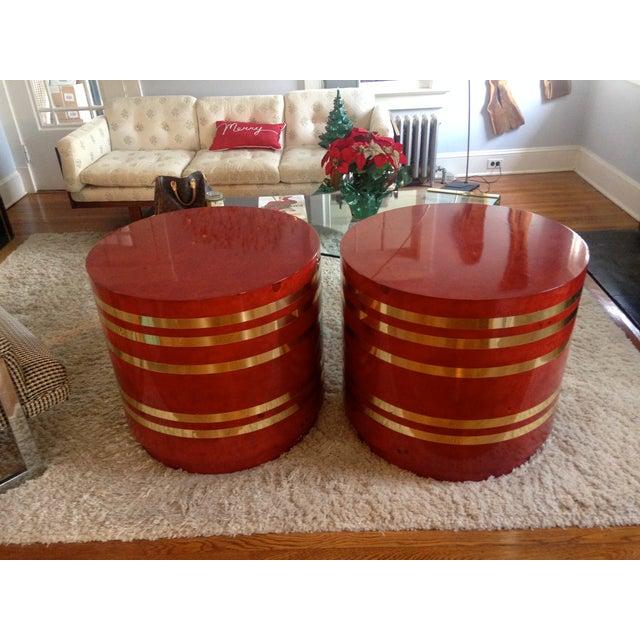 Hollywood Regency Red Burled Drum Tables - Pair - Image 5 of 7