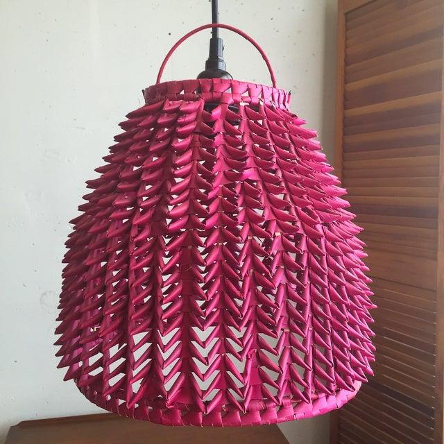 Image of Fuchsia Basket Pendant Lamps - A Pair