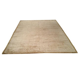 Silk and Wool Modern Hand Made Knotted Rug - 6′2″ × 9′1″
