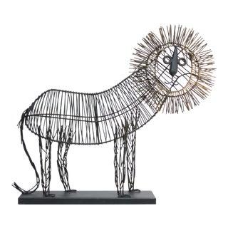 Brutalist Style Lion Wire Scupture