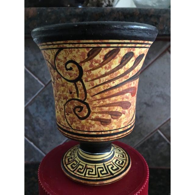 Small Black & Yellow Greek Signed Vase - Image 3 of 5