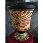 Image of Small Black & Yellow Greek Signed Vase