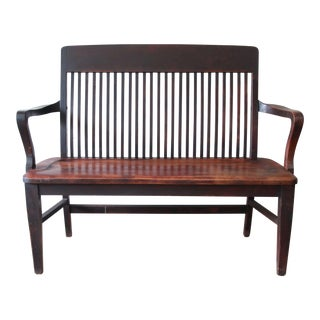 Antique Mahogany Banker's Bench by Milwaukee Chair Company, Circa 1900